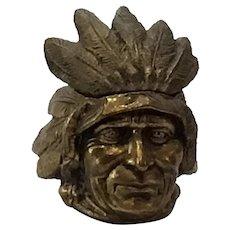 Native American Figural Head Metal Inkwell