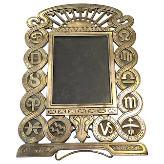 Brass Plated Art Deco Signs of the Zodiac Picture Frame