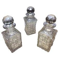 Antique Cut Crystal Perfume Bottles- 3 Bottles