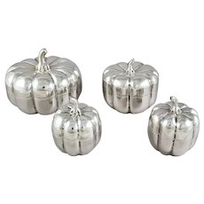 Pumpkin-shaped boxes in sterling silver