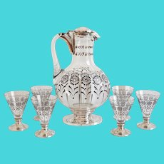 French Art Deco Baccarat Crystal and sterling silver alcohol set