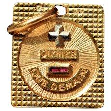 Large Vintage Unisex Square Qu'Hier Que Demain Pendant by Alphonse Augis 18K Gold French Love Token Charm