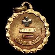 Large Vintage 18K Gold Unisex Qu'Hier Que Demain Pendant by Alphonse Augis French Vintage Love Token