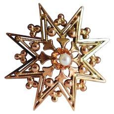 Antique 14k Gold Star Pendant Antique Edwardian Seed Pearl Star Necklace Fleur-de-Lis Pearl Necklace Large Pearl Star Charm Antique Pearl Star Charm