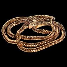 Unique Convertible 18k Gold Snake Necklace Antique Victorian Golden Snake Necklace or Bracelet Antique Convertible Necklace Golden Serpent Choker Statement Golden Snake Fine Estate Golden Necklace Antique Statement Cobra Necklace