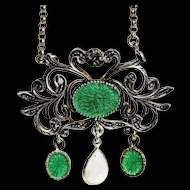 Antique Victorian Sterling Silver Enamel Necklace Antique Green Enamel Necklace Antique 835 Silver Moonstone Necklace Victorian Moonstone and Enamel
