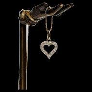 Vintage Golden Heart Pendant Vintage 18k White Gold Diamond Heart Charm Vintage Golden Heart Charm Vintage Wedding White Gold Heart Pendant