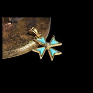 Vintage Golden Turquoise Charm Cross Pendant with Diamond Vintage Turquoise Maltese Cross Pendant Symbolic Jewelry Turquoise Charm 1960s Jewelry