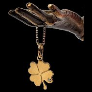 Vintage Golden Shamrock Pendant Lucky Charm Vintage 18K Gold Clover Charm Golden Lucky Charm Necklace Vintage Symbolic Jewelry Love Jewelry