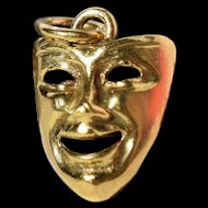 Vintage Golden Comedy Mask Pendant Golden Mask Charm Vintage Laughing Face Charm Vintage Unisex Golden Charm Vintage Gift for Artist