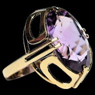 Vintage Art Deco Revival Amethyst Ring Cocktail Amethyst Ring Vintage Modernist Amethyst Ring Vintage Huge Amethyst Ring 1960s Jewelry