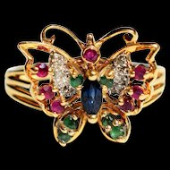 Vintage Butterfly Ring Vintage 18k Gold Sapphire Emerald Ruby Diamond Ring Vintage Butterfly July Birthstone 18k Ring 1950s Jewelry