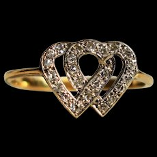 Vintage Art Deco Double Heart Diamond Vintage Engagement Ring 1920s Jewelry 18K Gold Diamond Heart Shape Ring 1920s Diamond Heart Ring