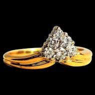 Vintage Cluster 0.5 ct Diamond Heart Engagement Ring 7th Anniversary Diamond Cluster Ring Vintage Engagement Ring Vintage Proposal Ring