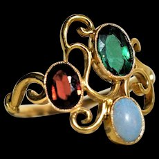 Antique Victorian Opal Ring Antique Green Tourmaline Ring Vintage Opal Ring Victorian Garnet Ring Fantasy Opal Ring Vintage Multi-Stone