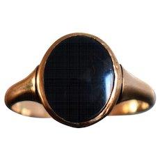 Vintage Rose Gold Onyx Signet Ring German Onyx Ring Minimalist Unisex Signet Onyx Ring Rose Gold Signet Ring 1950s Jewelry