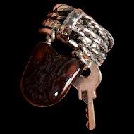 Vintage Silver Statement Padlock Ring One-of-a-Kind Padlock and Key Ring Unique Silver Key Ring Vintage Charm Vintage Signet Monogram H Ring