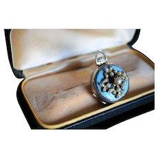 Antique Silver Enamel Photo Locket Antique Seed Pearl Locket Edwardian Mechanical Photo Locket Turquoise Enamel Pendant Round Silver Locket