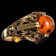 Vintage Modernist Amber Ring Vintage Golden Amber Ring Modernist Ring Vintage Honey Amber Ring Mothers Day Gift