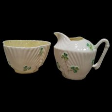 Belleek Harp Shamrock Cream and Sugar Set - 3rd Mark - Black - 1926-1946