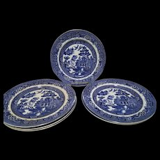 """Set of 6 Allerton's Blue Willow """"Smooth"""" 10"""" Dinner Plates"""