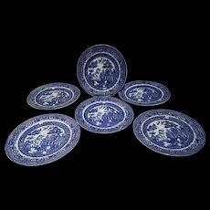 """Set of 6 Allerton's Blue Willow """"Smooth"""" 7 3/4"""" Salad Plates"""