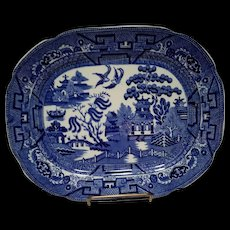 """Allerton's Blue Willow """"Smooth"""" Small Serving Platter"""