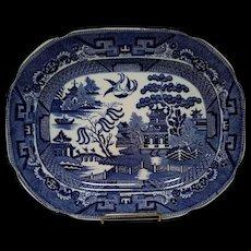 "Allerton's Blue Willow ""Smooth"" Large Serving Platter"