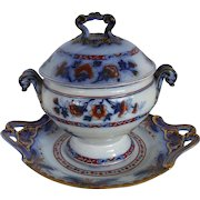 Marriage - Sauce Tureen and Undertray, Flow Blue, Polychrome and Majolica!