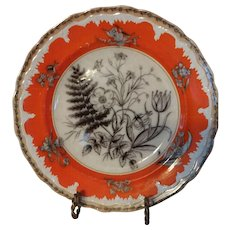 WILD FLOWERS Mulberry Plate with Unique Orange Ground