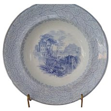 Blue and White Transfer Ware Soup Bowl in the NICE Pattern