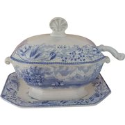 Blue and White Transfer Ware Sauce Tureen - Including Ladle