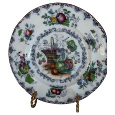FRUIT BASKET Plate in Mulberry and Polychrome