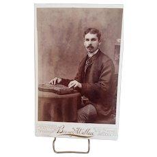 Cabinet Card Photograph-Man Playing Autoharp, c1885-1895