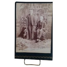 Cabinet Card Photographs of Children  With Same Dog at Different Ages