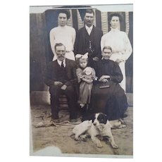 Cabinet Card Photograph of Family with Dog and Child's Doll