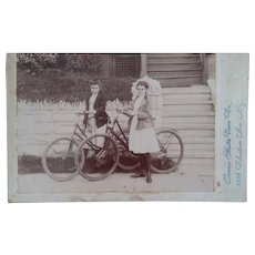 Ladies with Their Bicycles Cabinet Card Photo, c. 1902