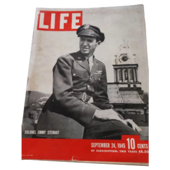 LIFE Magazine Sept. 24, 1945, Col. Jimmy Stewart on the Cover