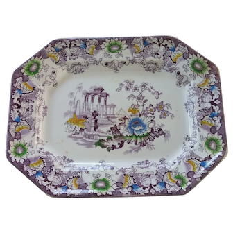 CLEOPATRA Transfer ware Platter with Color
