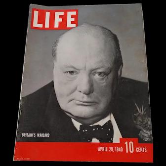 LIFE Magazine April 29, 1940, Winston Churchill on the Cover