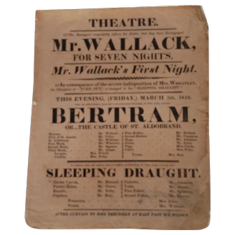 Theatrical Broadside for Two Popular Early 19th Century Plays
