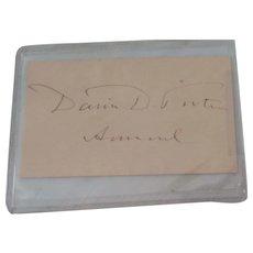 Admiral David Dixon Porter Autograph