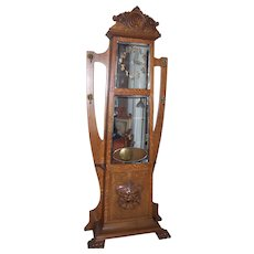Fantastic American Quarter Sawn Oak Grandfather Clock/ Hall Tree
