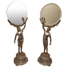 French art nouveau spelter silvered figurines holding a mirror