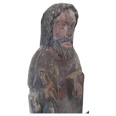 17th Century carved wood Polychrome religious statue of an evangelist