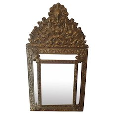 19th Century French Ornate Repousse Copper Wall Mirror