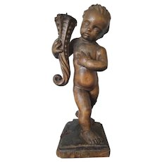 18th Century Italian Carved Wooden Angel Sculpture