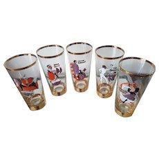 vintage Paris cabaret moulin rouge cordial six glass set 1920s