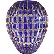 Bohemian Cobalt Blue cut to Clear Crystal Mid-Century Vase