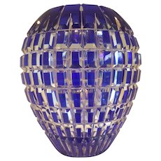 Bohemian Cobalt Blue cut to Clear Crystal Mid-Century Vase